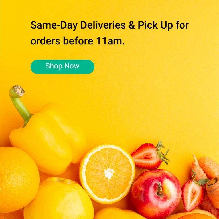 Same day delivery and pick up for orders before 11am